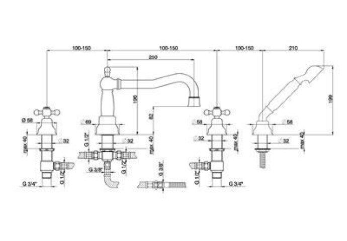"Cisal Arcana Ceramic 4-gats Badmengkraan badrandmontage 3/4"" brons AC00026427"