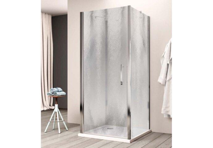 Douchecabine Lacus Giglio Fox Eéndelig 100 cm Chinchilla Glas Aluminium Profiel (2 zijwanden)