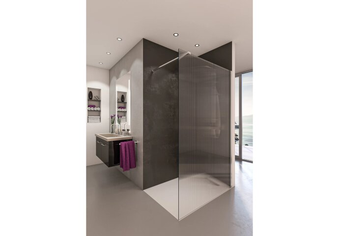 Inloopdouche BWS Free Time 140x200 cm Ribbel Timeless Coating Chroom