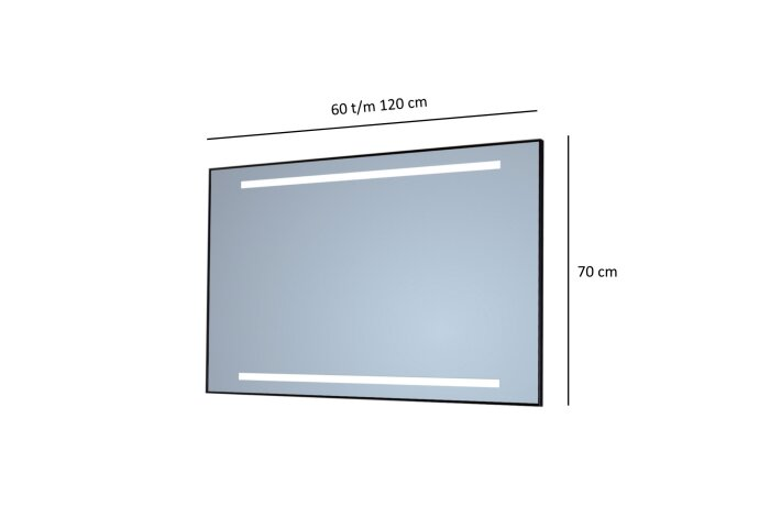 Badkamerspiegel Sanicare Q-Mirrors Twee Horizontale Banen 'Cool White' LED-Verlichting (alle kleuren, alle maten)