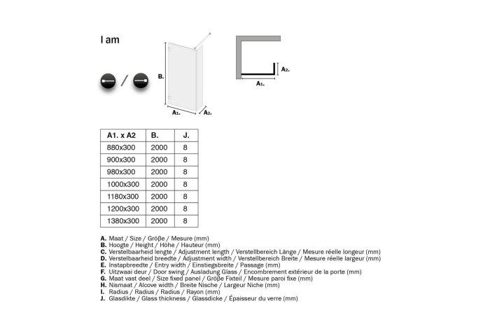 Inloopdouche Get Wet by Sealskin 'I AM' Type A1 100x200 cm Chroom/Zilver Helder Antikalk + Zijdeel 30x200 cm