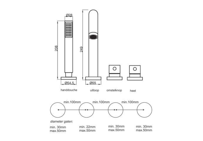BWS 4 gats Cross Afbouw Badrandthermostaat Chroom