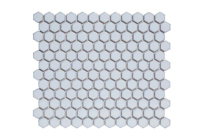 Mozaïektegel The Mosaic Factory Barcelona Hexagon 23x26 mm Porselein Zacht Blauw