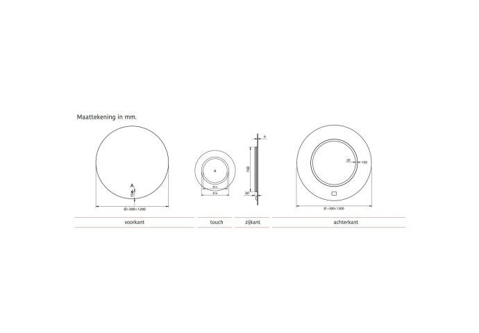 Ronde Badkamerspiegel Xenz Salo met Rondom Ledverlichting 80 cm