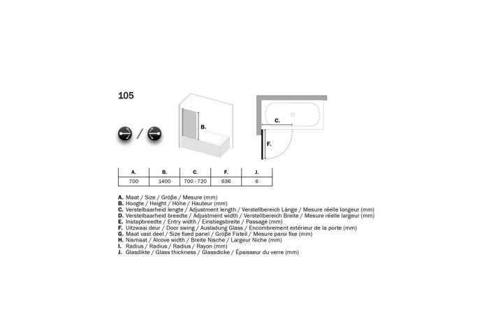 Badzijwand Sealskin 105 Get Wet 1-delig 70x140 cm Helder 6 mm Veiligheidsglas Chroom