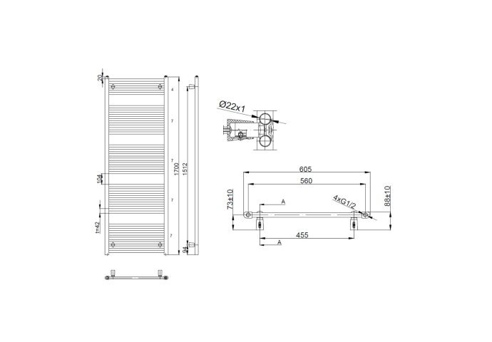 Handdoekradiator Sapho Aqualine Radiators Recht 170x60 cm Wit