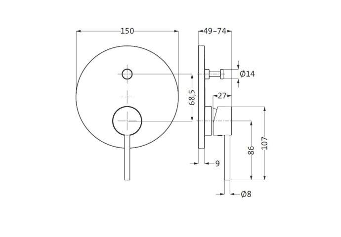 Inbouw Bad- en Douchemengkraan Herzbach Design New Chroom