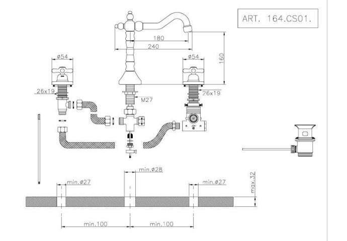 Wastafelmengkraan Huber Croisette 3-gats 164CS01HCR Chroom
