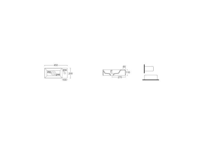 Fontein Salenzi Spy 45x20 cm Mat Antraciet (inclusief bijpassende waste)