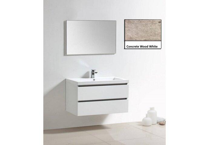 Badkamermeubelset Sanilux Trendline 100x47x50 cm 1 Kraangat Concrete Wood White