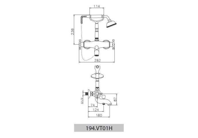 Huber Victorian Thermostatische Badkraan met douchegarnituur Chroom-Goud 194VT01HCA
