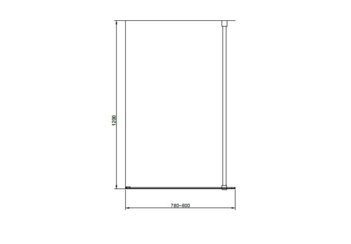 Badwand Van Rijn ST04 Helder Glas 8 mm 3 Delen Aluminium Zwart Profiel 80x160 cm