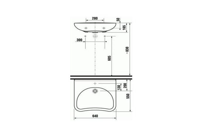 Rolstoelwastafel Jika Euroline Aangepast Sanitair 64x55x16,5 cm Keramiek Wit (met kraangat)