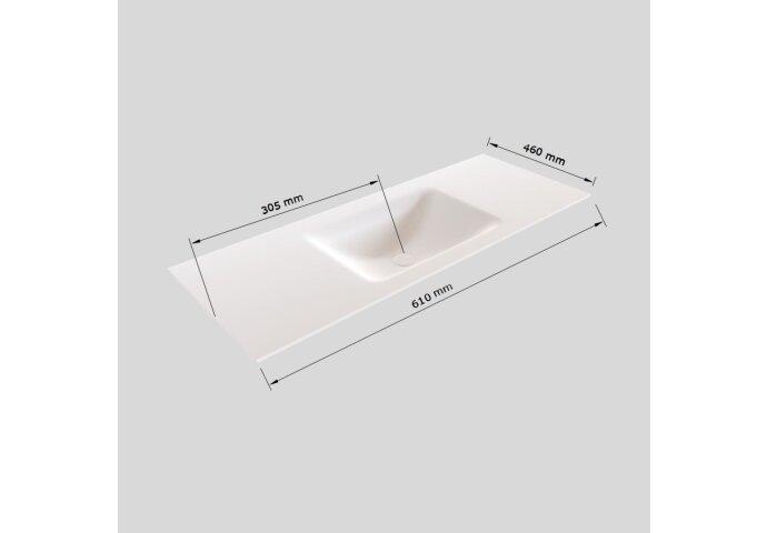 Badkamermeubel Solid Surface BWS Oslo 60x46 cm Mat Wit (zonder kraangaten)
