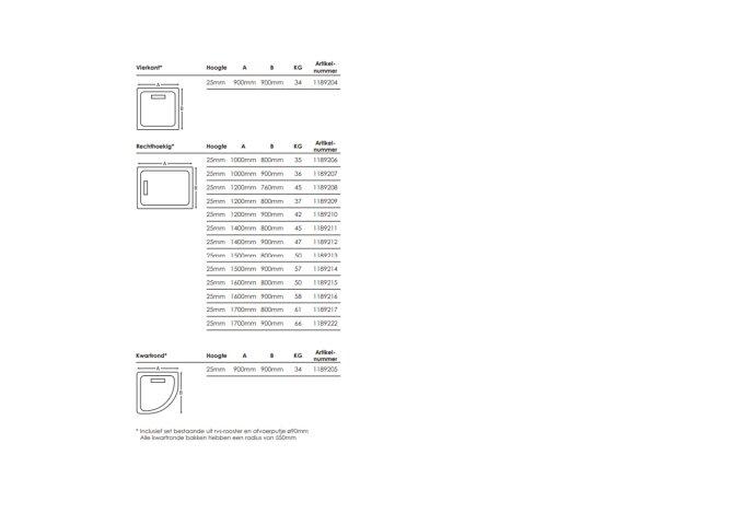Douchebak Aqualux Aqua25 Definition met Afvoer Steencomposiet Wit (ALLE MATEN)