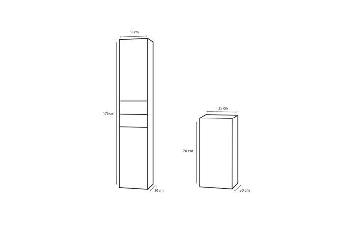 Badkamerkast Differnz Style 30x35x70 cm Grijs Eiken (Links)