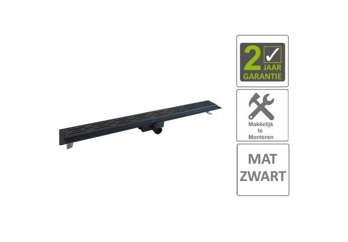 BWS Douchegoot Flens Met Uitneembaar Sifon 100x7x6.7cm RVS Mat Zwart