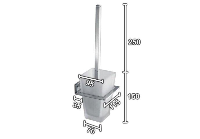 Toiletborstelhouder Sanilux Cube Vierkant Chroom Met steel Hangend