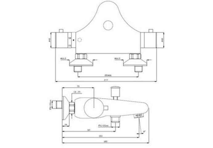 Badkraan thermostatisch Still chroom (Badrandkraan)