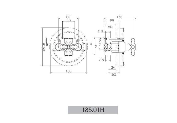 Huber Croisette Inbouw Douchethermostaat Chroom/Goud 18501HCA
