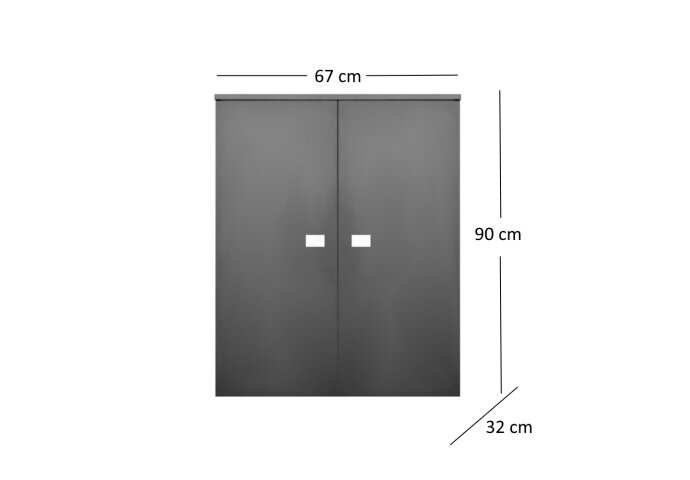 Kolomkast Sanicare Q5 2 Soft-Close Deuren 90 cm Antraciet
