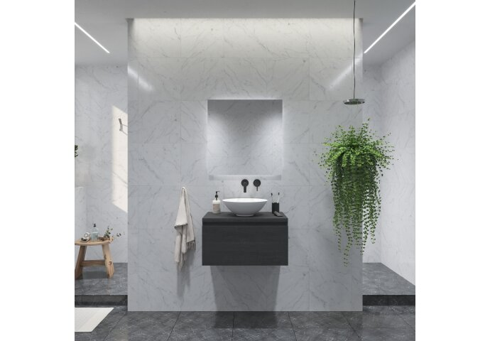 Badkamermeubelset Gliss Eros 70 cm Zwart Eiken Met Waskom