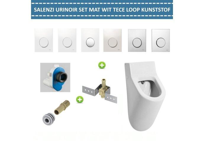 Urinoir Set Salenzi Hung Achterinlaat Mat Wit met TECE Loop Drukplaat Kunststof