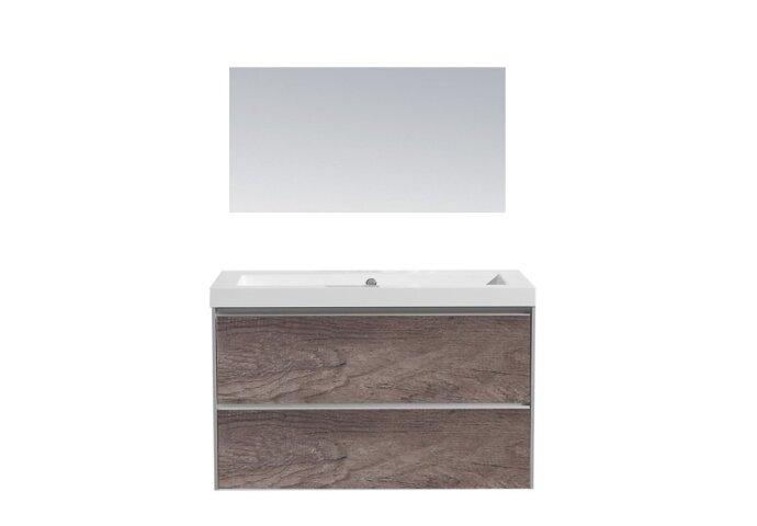 Badkamermeubel Sanilux PL 80 Greeploos Incl Spiegel En Wastafel Century Oak Multiplex 80x47x50 cm