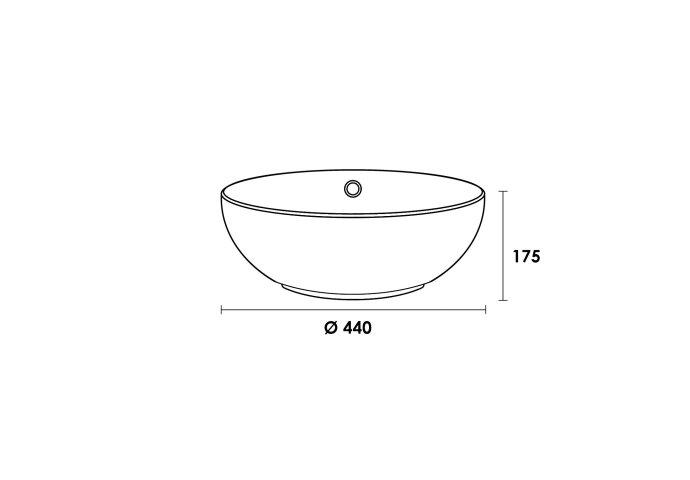 Opbouwwastafel keramiek Kos (440x440x175 mm)