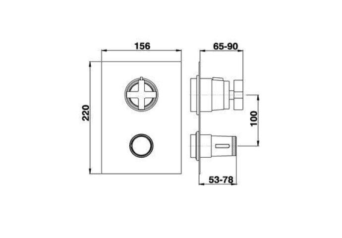 Cisal Barcelona inbouwthermostaat met 2 uitgangen chroom BA01840321