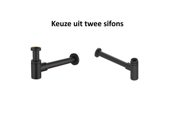 Fonteinset Boss & Wessing Solid Surface met Handdoekrek Rechts Mat Zwart (inclusief kraan, afvoer en sifon)