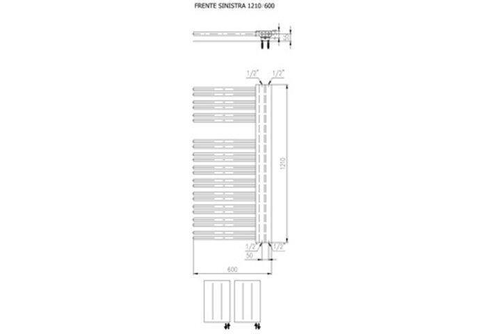 Designradiator Boss & Wessing Franto Sinistro 161 x 60 cm 933 Watt Buis Links Zilver Metallic