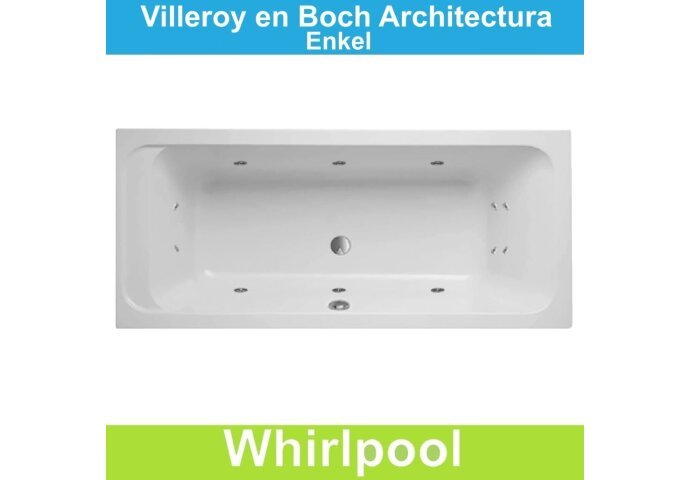Villeroy & Boch Architectura 180x80 cm Whirlpool Enkel systeem   Tegeldepot.nl