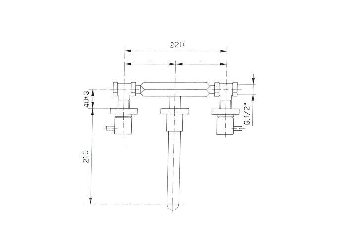 Wastafelmengkraan 3-gats Sapho Aritech 2-knop Uitloop Gebogen 21 cm Chroom