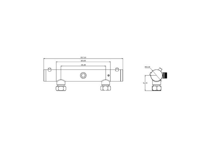 Thermostatische Douchekraan Schutte London HOH 15 cm Mat Zwart
