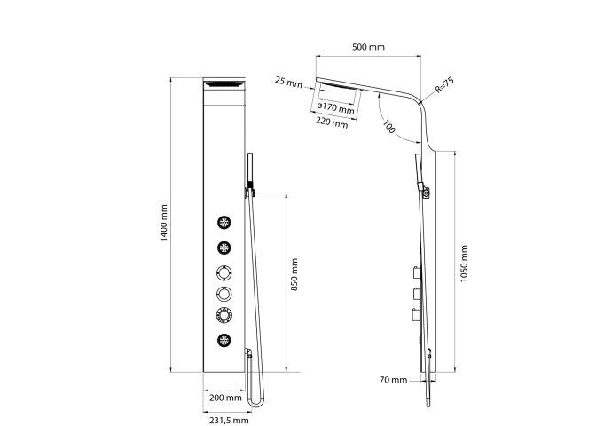 Douchepaneel Thermostatisch Best Design Maxo RVS Mat Zwart