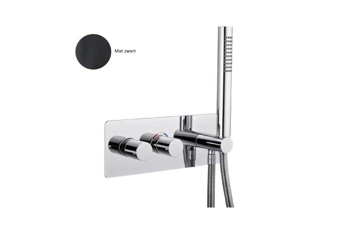 Inbouw Douchekraan Sanimex Giulini Thermostatisch 1-Uitgang Rechthoekig Incl. Handddouche En BOX Inbouwdeel Mat Zwart
