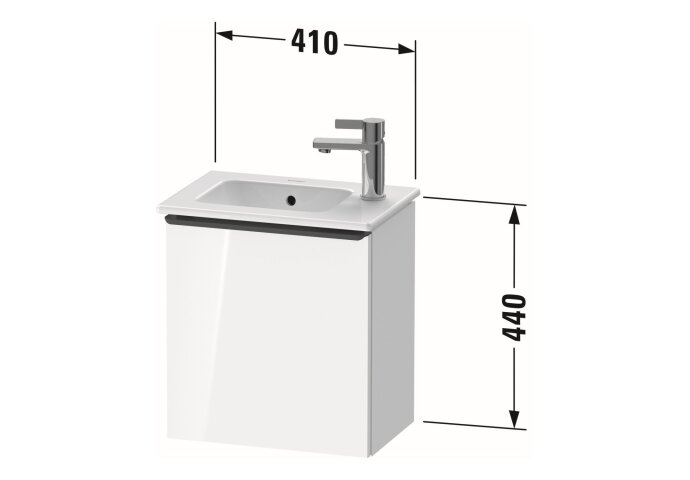 Fonteinkast Duravit D-Neo Wand 410x274x440 mm Rechts Mat Noten (Donker)