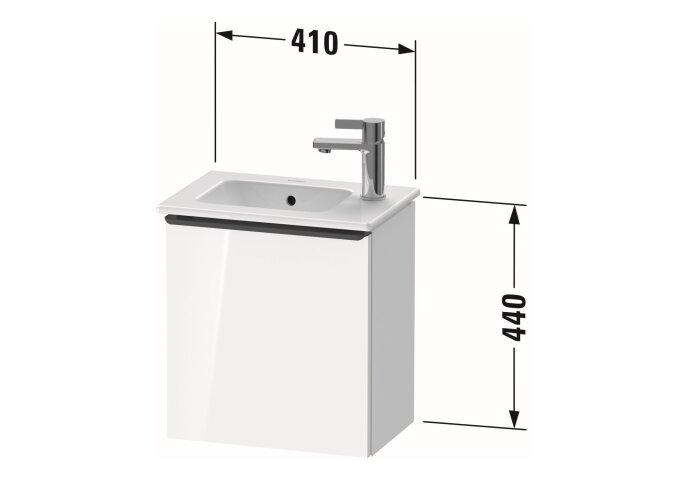 Fonteinkast Duravit D-Neo Wand 410x274x440 mm Rechts Mat Basalt