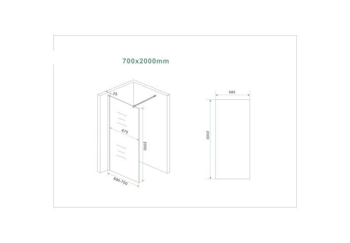 BWS Inloopdouche Pro Line Helder Glas 70x200 Mat Wit Profiel en Stabilisatiestang