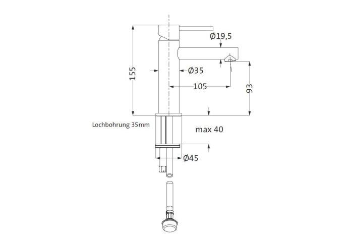 Lage Wastafelmengkraan Herzbach Design IX PVD-Coating Koper
