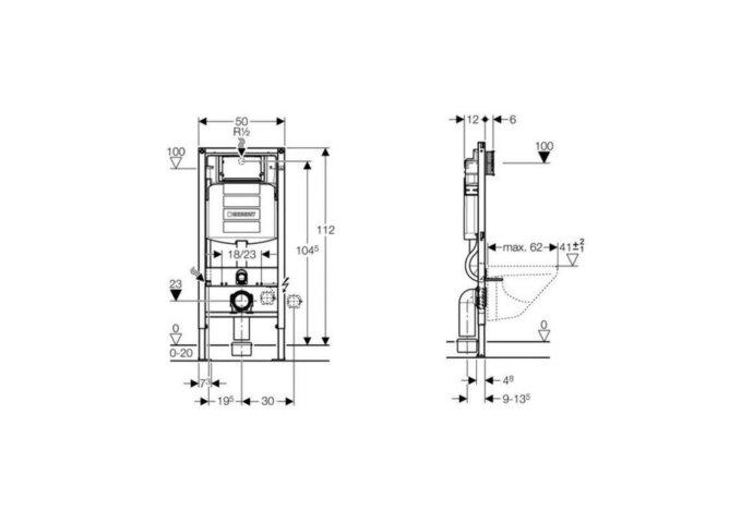 Geberit Duofix Sigma UP320 Inbouwreservoir H112 Cm.