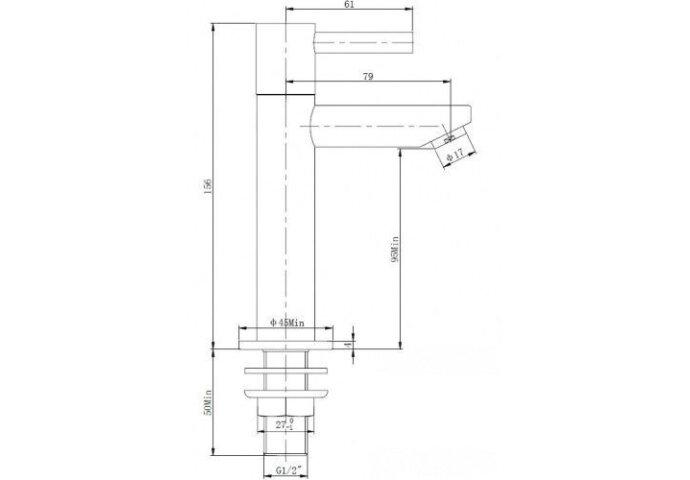 Fonteinkraan Amador XL hoog ker. 1/2 RVS (Fonteinkranen)