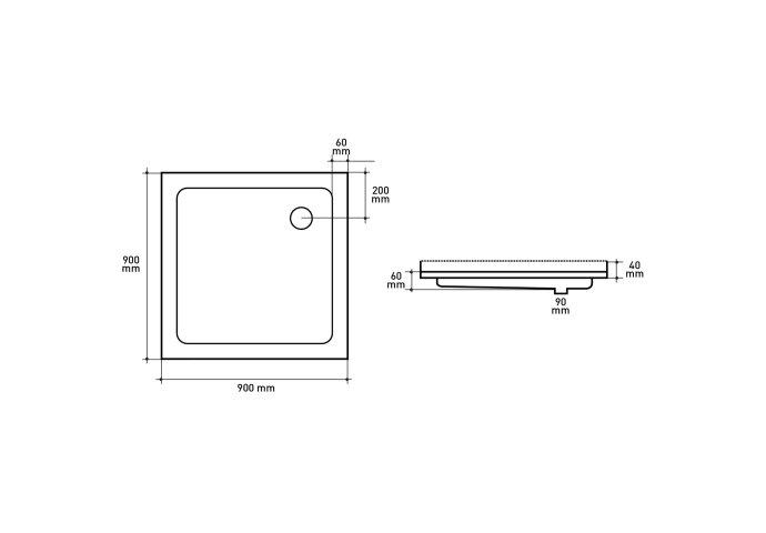 Douchebak VM Go Eden PLUS 90x90x6cm Acryl Vierkant Met 3 Randen