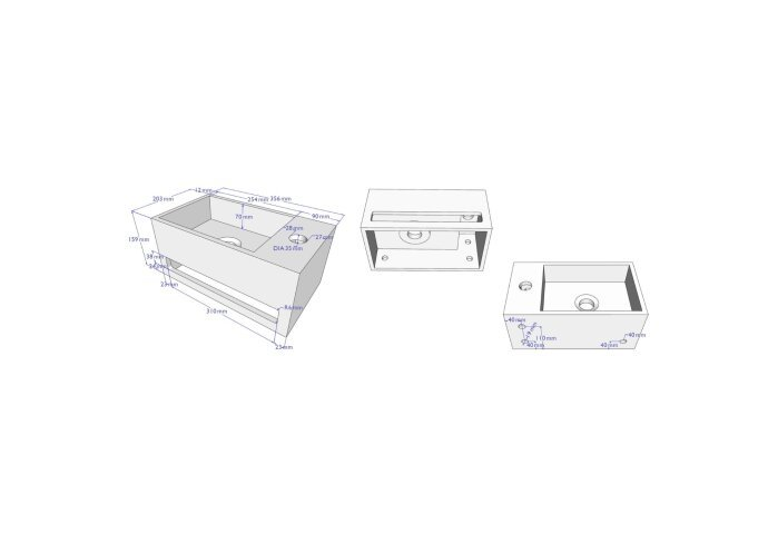 Fonteinset BWS Solid Surface met Handdoekhouder Rechts Mat Wit / Koper (inclusief kraan, afvoer en sifon)