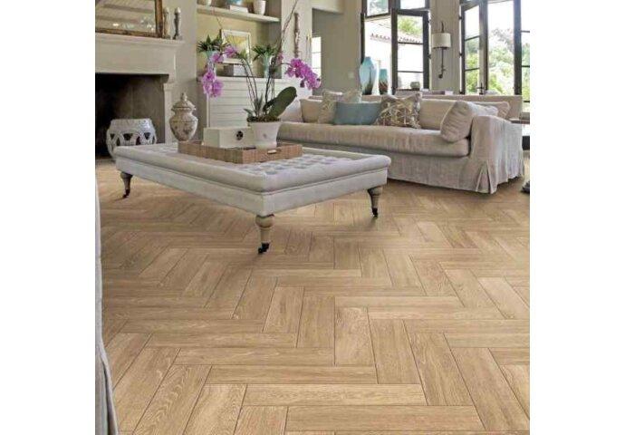 Wandtegel Visgraat Jabo Real Wood Nocciolo 15x60 cm Keramiek Beige (Doosinhoud: 1,31 m2)