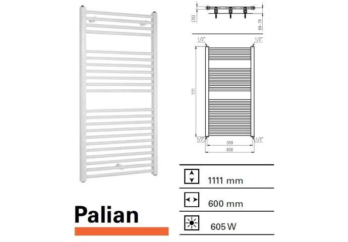 Handdoekradiator Boss & Wessing Palian 1111 x 600 mm  | Tegeldepot.nl