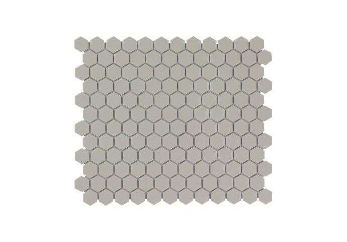 Mozaïek London 26x30 cm Onverglaasd Porselein Hexagon, Mat Antislip En Grijs (Prijs Per 0.78 m2)