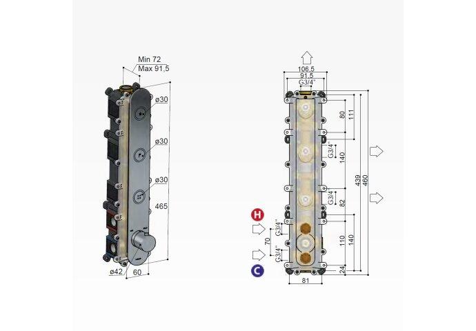 Douchethermostaat Hotbath Cobber Inbouw 3 Pushbuttons Gepolijst Messing (excl. inbouwdeel)