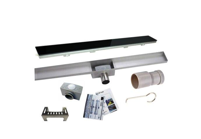 RVS Douchegoot BASIC met uitneembaar sifon 70x7cm 6,7cm diep GLAS ROOSTER BWTP/DR70PSGLAS